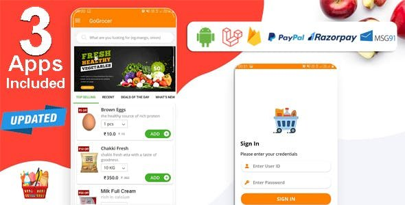 Multi-Store Grocery v1.5 - Delivery App with PHP Backend and Store & Delivery Boy App
