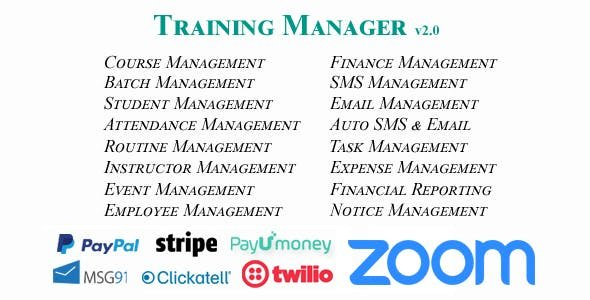 Training Manager v2.0 With Zoom - Ultimate Training / Coaching / Learning Center Management System