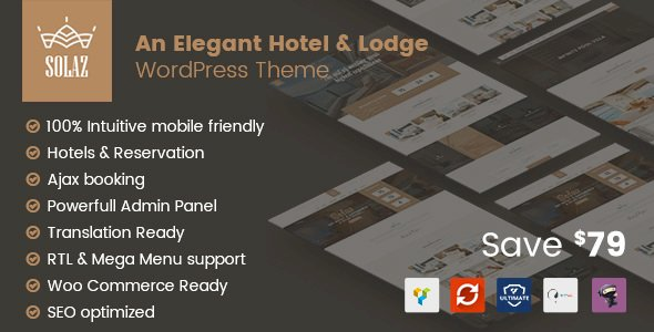 Solaz v1.1.5 – An Elegant Hotel & Lodge WordPress Theme